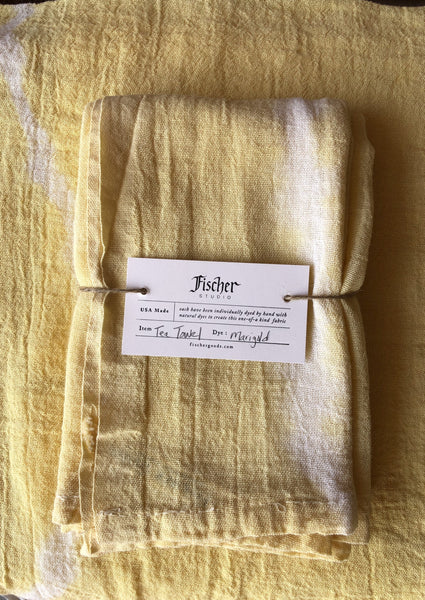 Natural Dyed Tea Towel - Marigold