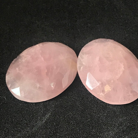 Rose Quartz FreeForm Rose cut/ Polki Pair
