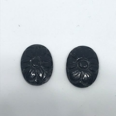 Black  Tourmalinated Quartz Carved earing pair