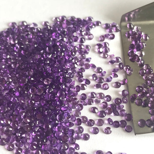Amethyst Small Size 2 MM Round Faceted lot of 10 pieces