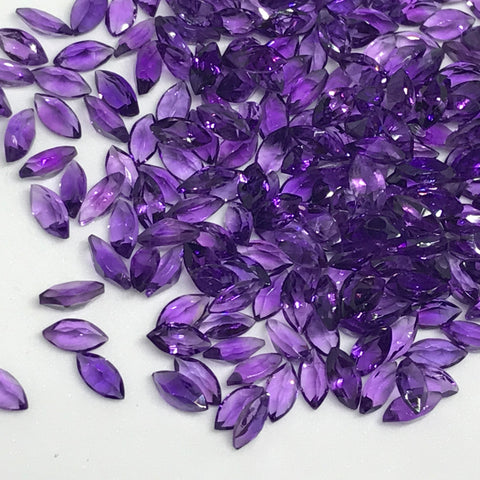 Amethyst 2.5X5 MM Marquise Cut Faceted lot of 10 pieces