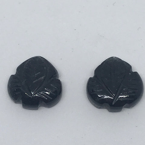 Black  Tourmalinated Quartz Carved pairs