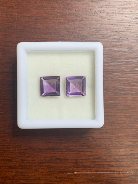 Amethyst 10 Square Faceted cut