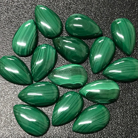Malachite 10x16 MM Pear shape Cabochons