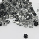Black Rutiliated Quartz 5 MM Round Cabochons
