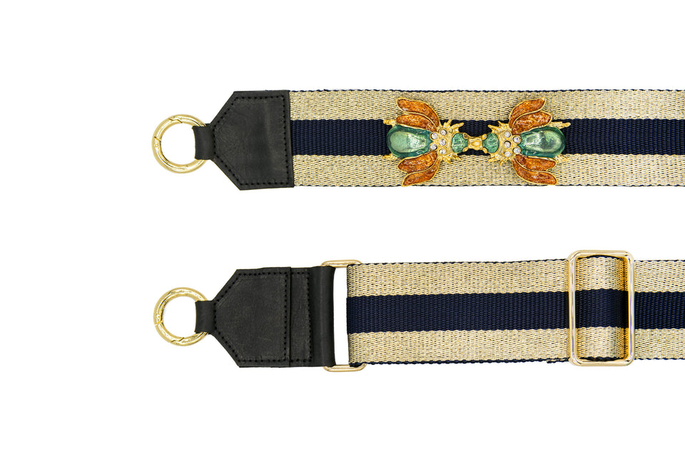FARA SHOULDER STRAP AMBER ENAMELED FLY BUCKLE
