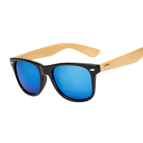 Wooden Blue-Lens Sunglasses
