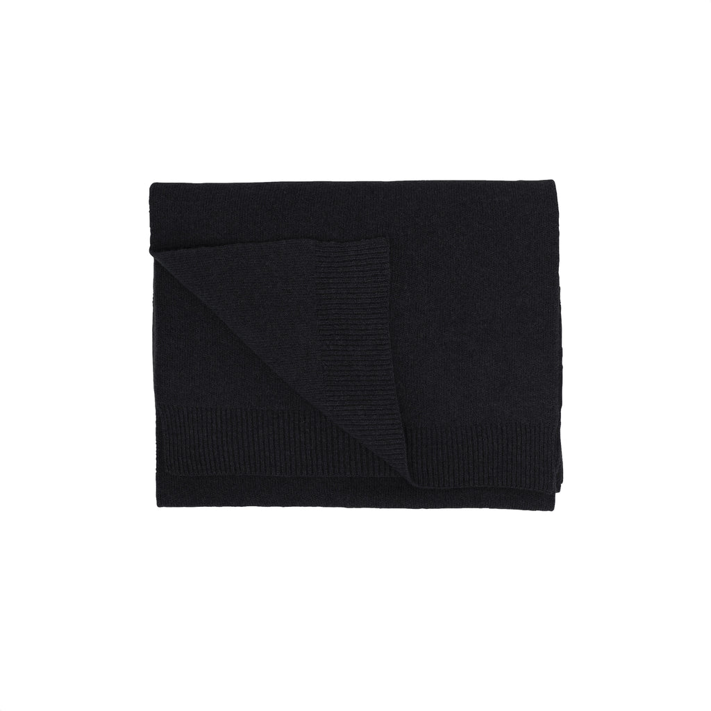 Merino Wool Scarf, Deep Black