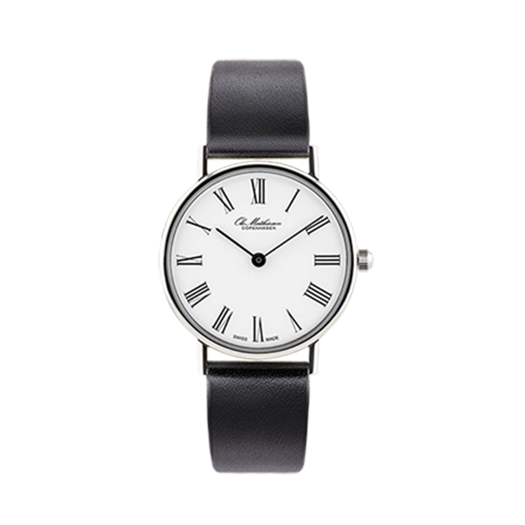 OM1.28.Q Ladies Watch, Black Leather