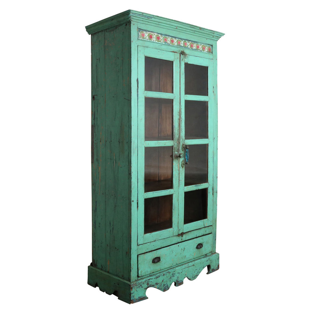Green Vintage Cabinet with Tiles