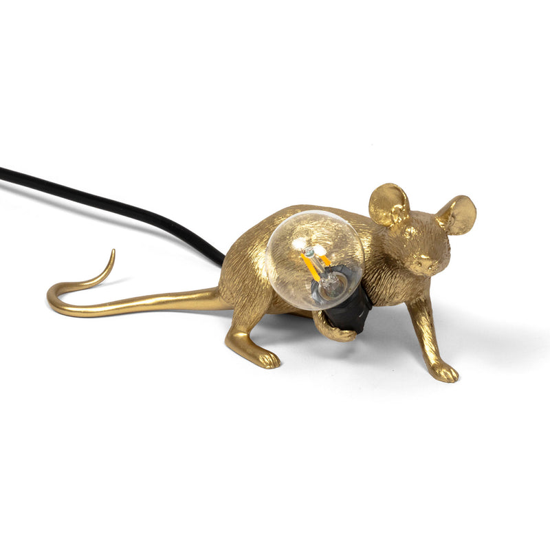 Mouse Lamp, Lying Down - Gold