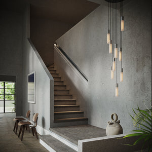 Basalt Suspension Lighting Set, Steel