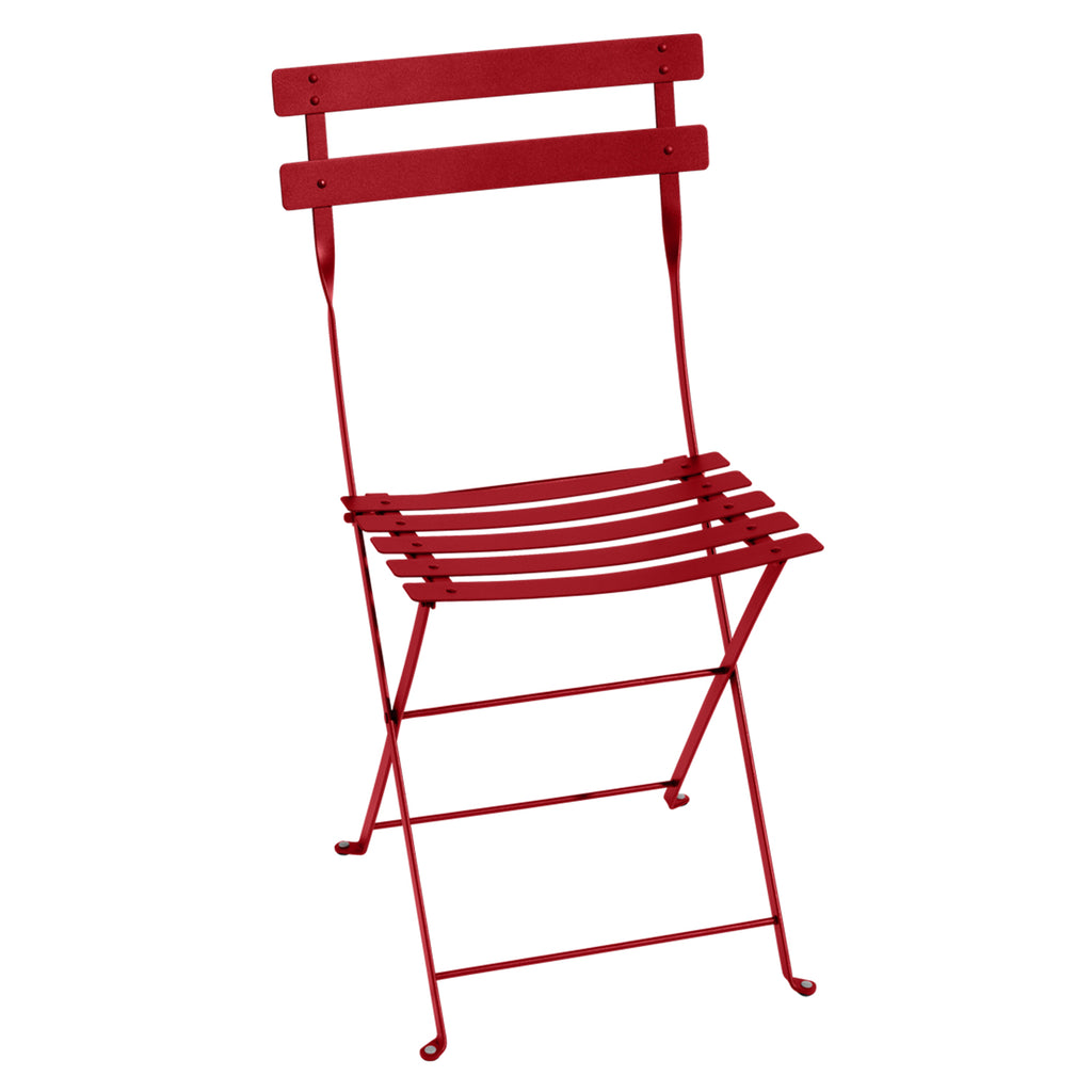 Bistro Folding Metal Chair, Poppy Red