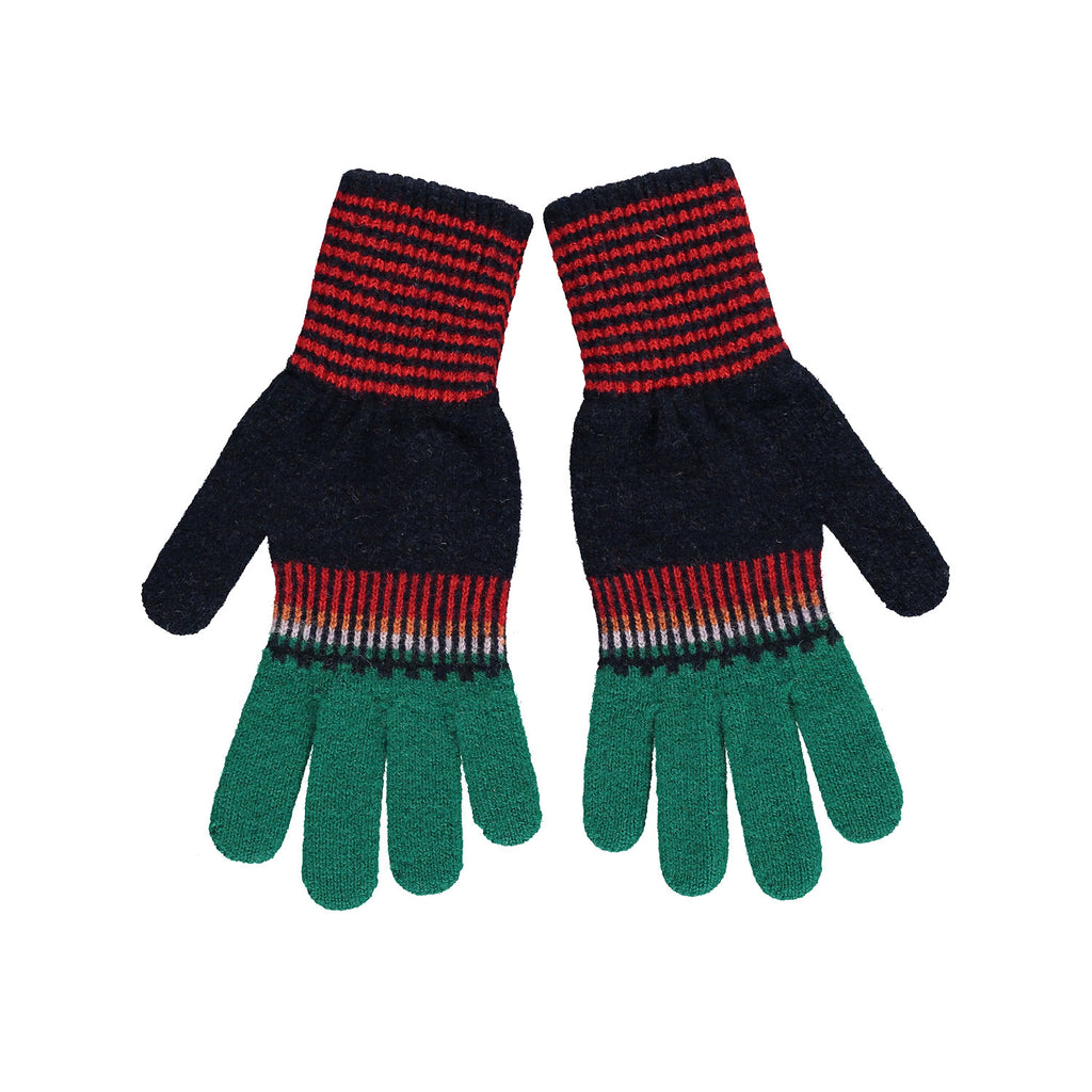 Fade Out Gloves, Navy & Green