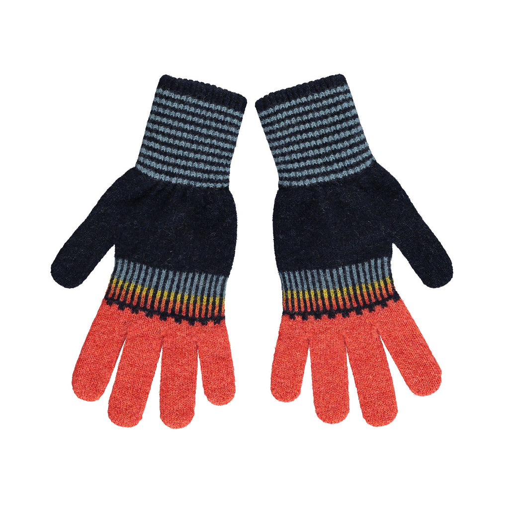 Fade Out Gloves, Navy & Orange
