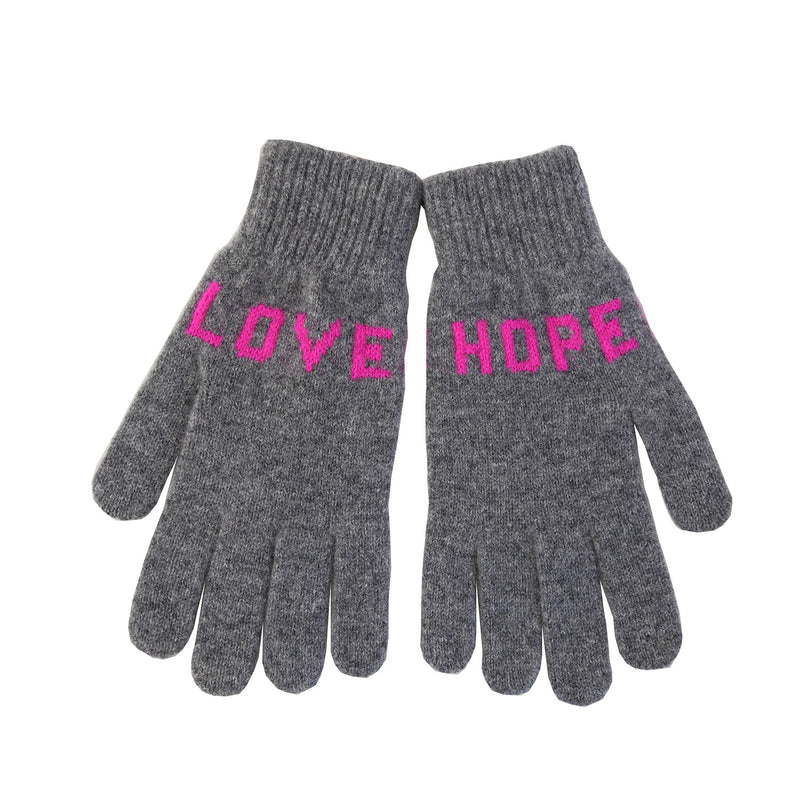 Love Hope Gloves, Grey Pink