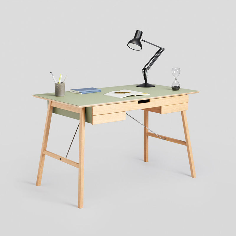 Plan Desk, Oak & Olive