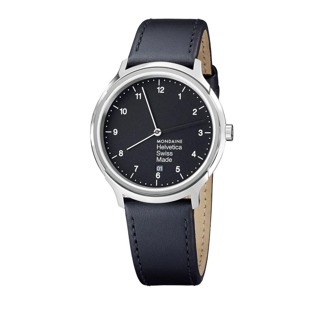 Unisex Helvetica No1 Regular Watch, Black Face by Mondaine