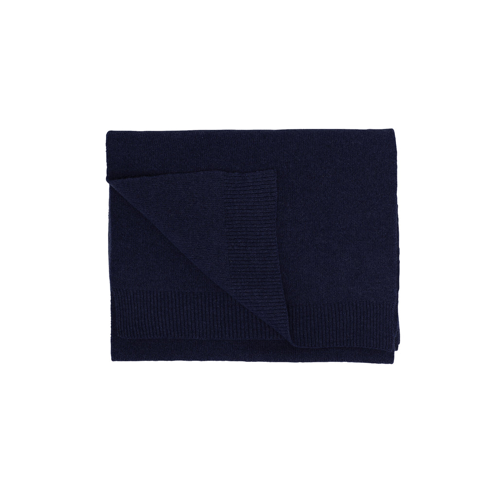 Merino Wool Scarf, Navy Blue
