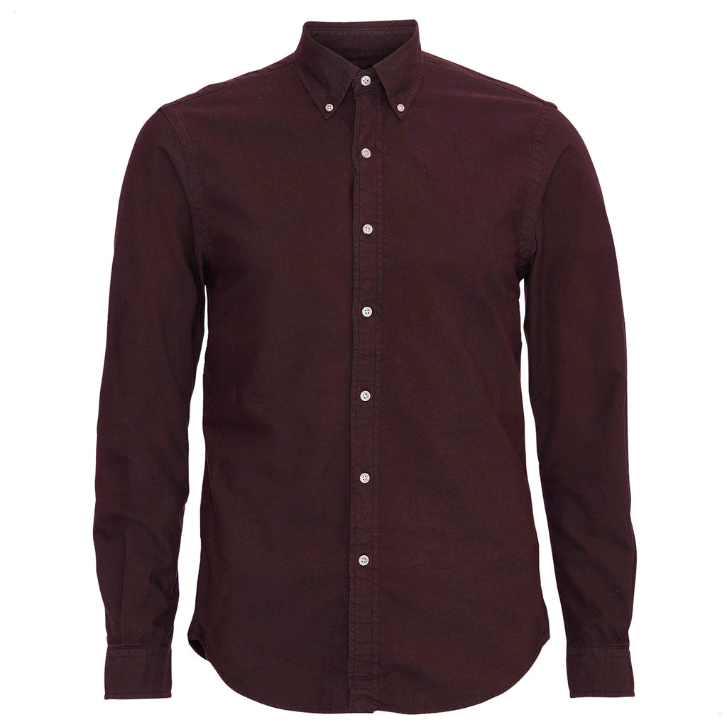 Organic Cotton Button Down Shirt, Oxblood Red