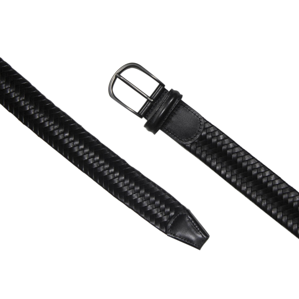 Plaited Leather Belt, Black