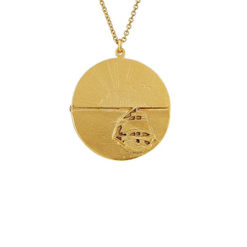 Sail Into Sunset Necklace, Gold Plated