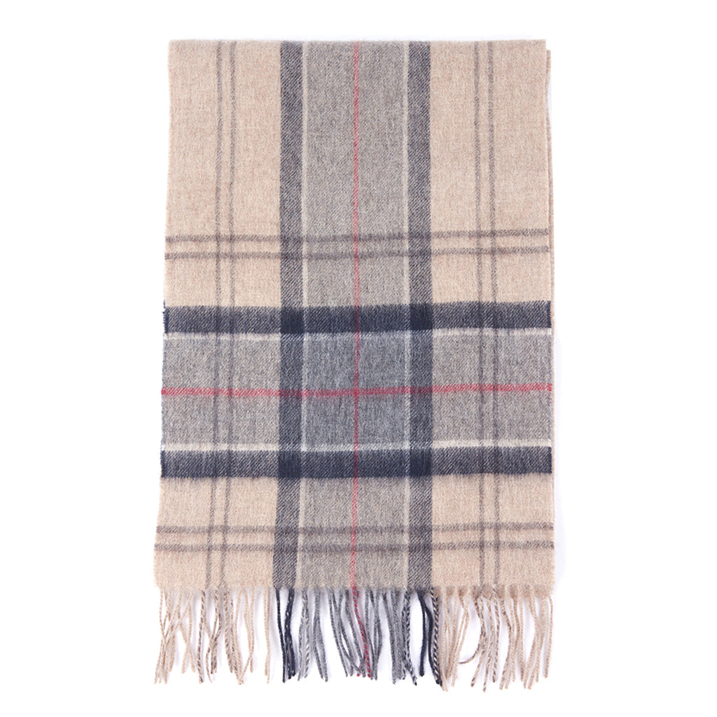 Barbour Tartan Scarf, Cream & Blue