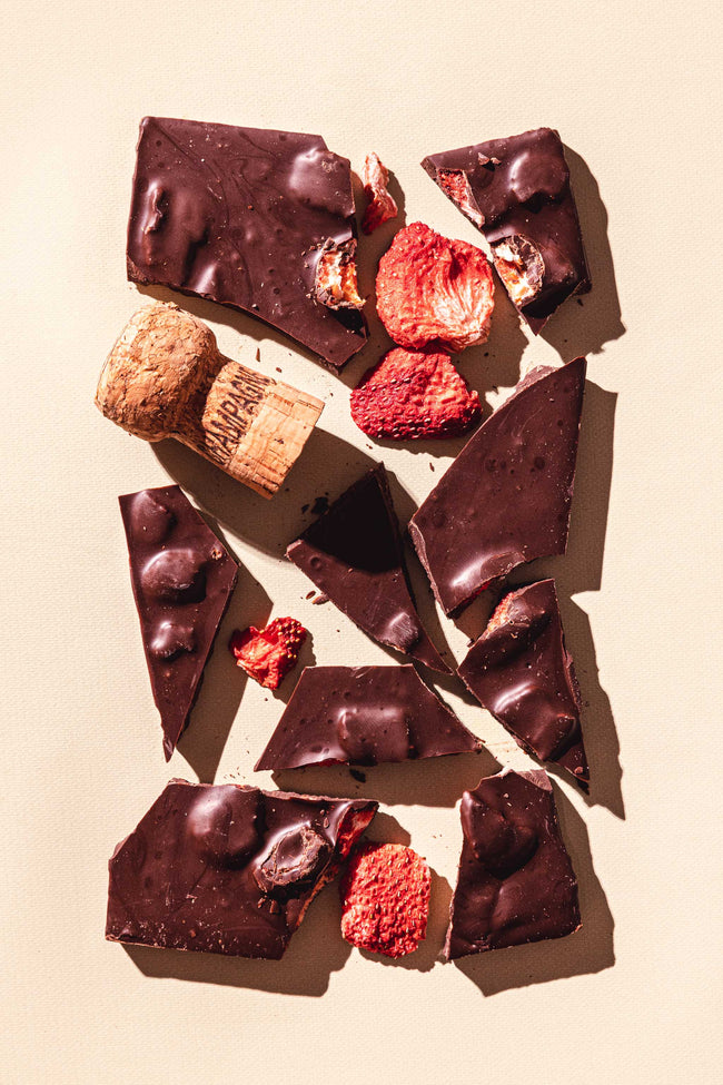 Strawberry Champagne Gourmet Dark Chocolate Bar