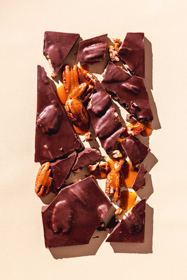 Chocolate Sea Salt Pecan Turtle Chocolates Bar