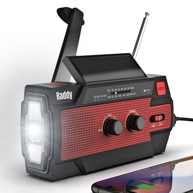 Raddy SW3 Emergency Survival Radio | 4000mAh | Hand Crank | Solar-Powered | FM/AM/NOAA