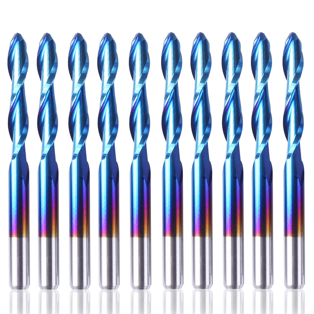 "Genmitsu 1/8"" Router Bit 10-PCS Ball Nose Set SB17, Nano Blue Coating"