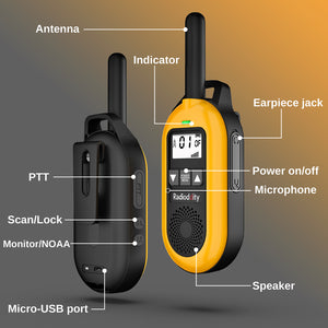 Radioddity PR-T2 [1 Pair] | PMR446 License-free Radio | USB Charging | CTCSS/DCS