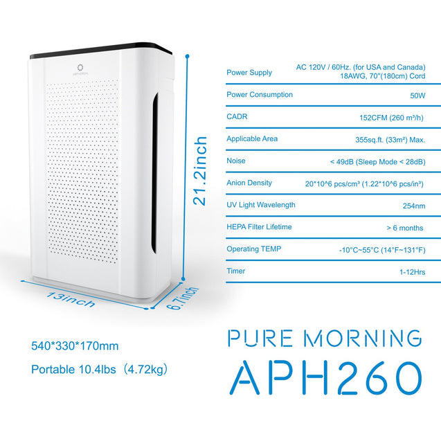 "APH260 ""Pure Morning"" Luftrenare med 7-i-1 HEPA-filter"