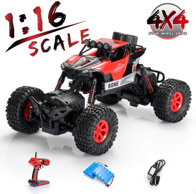 SainSmart Jr. RC Cars 1:16 Remote Control High Speed Racing Car Electric Toy Crawler 4 WD 2.4GHz RC Vehicles with Rechargeable Batteries for Kids, Red