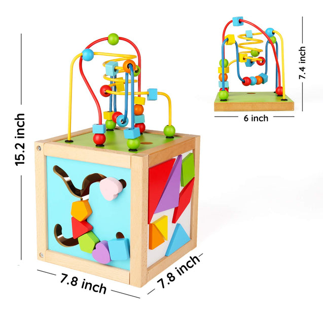 SainSmart Jr. Wooden Bead Maze Wooden Activity Blocks Cube Toy Baby Busy Box Play Center Learning and Educational Toy for 18 Months+