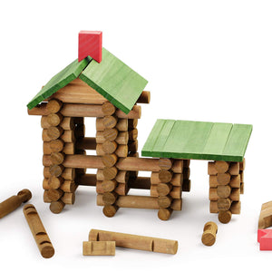 SainSmart Jr. Wooden Building Blocks STEM Wooden Construction Toy for Kids, Log Cabin Set Building House Toy for Preschooler with Colorful Blocks 450 PCS/Set