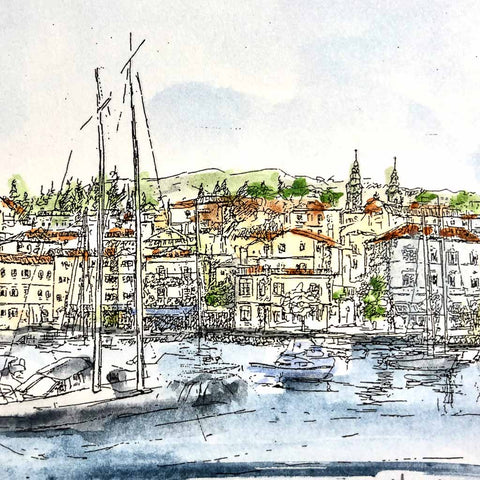Volosko Harbor Watercolor