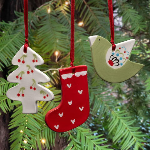 Ceramic Christmas Ornament 3-pack