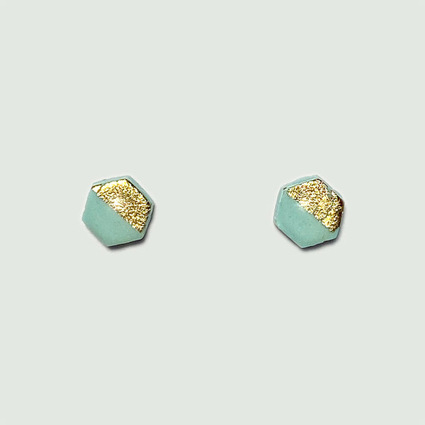 Small Hexagonal Gold Leaf Earrings
