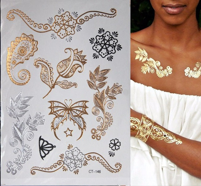 Hot Flash Metallic Waterproof Temporary Gold Silver Tatoo
