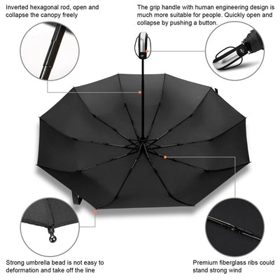 Black Coating Wind Resistant Folding Automatic Umbrella