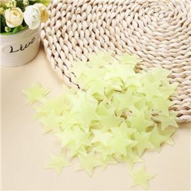 100 pcs. 3D Stars Glow In The Dark Luminous on Wall Stickers