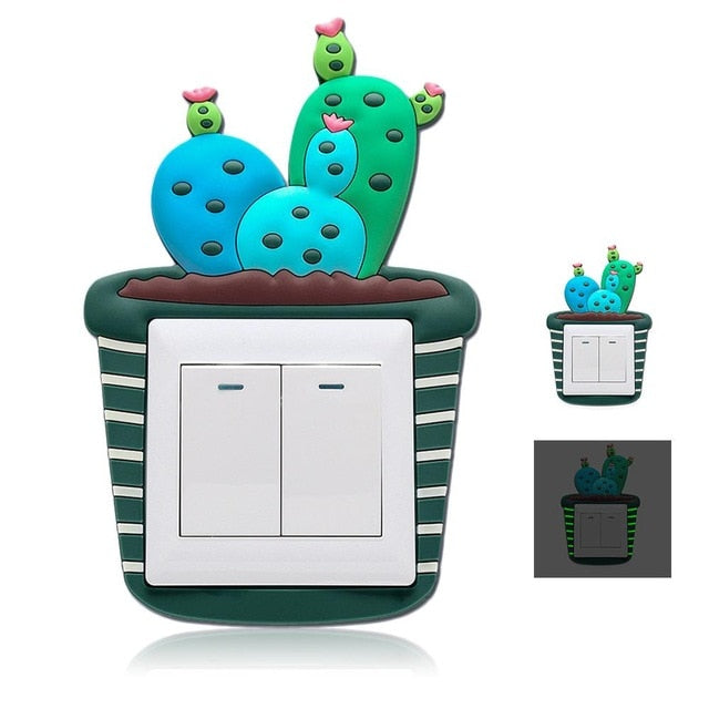 3D Cactus Fluorescent Wall Silicone On-off Switch Stickers