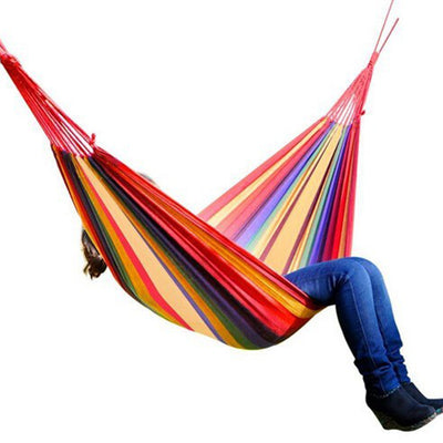 Rainbow Outdoor Leisure Double Collapsible Canvas Hammocks
