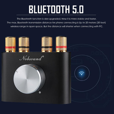 Latest Nobsound Mini Bluetooth 5.0 Digital Amplifier Hifi Stereo Home Audio