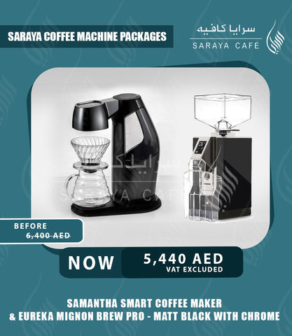 Samantha Smart Coffee Maker & Eureka Mignon Brew Pro - Matt Black with Chrome