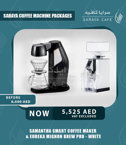 Samantha Smart Coffee Maker & Eureka Mignon Brew Pro - White