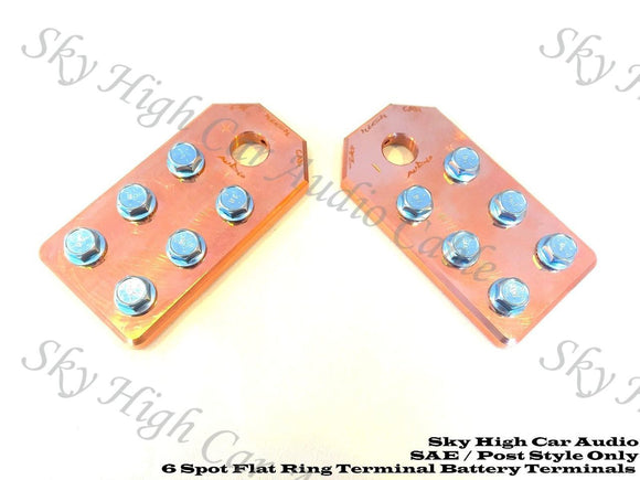 Sky High Car Audio 6 Lug Flat SAE Copper Battery Terminals