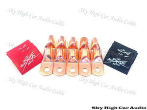 Sky High Car Audio 1/0 Copper Lug Pack of 10 W/Heat Shrink