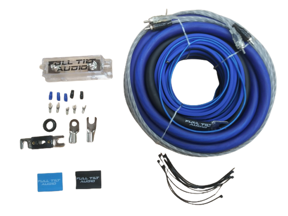 Full Tilt 1/0 Gauge AWG Blue/Black Amplifier/Amp Wire Kit